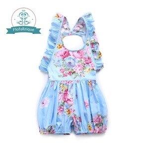 Image 1 - Flofallzique Marke Baumwolle Floral Druck Baby Mädchen Overall Sommer Strampler Outfits Elastische Taille Kleinkind Kinder Kleidung 1 6Yrs
