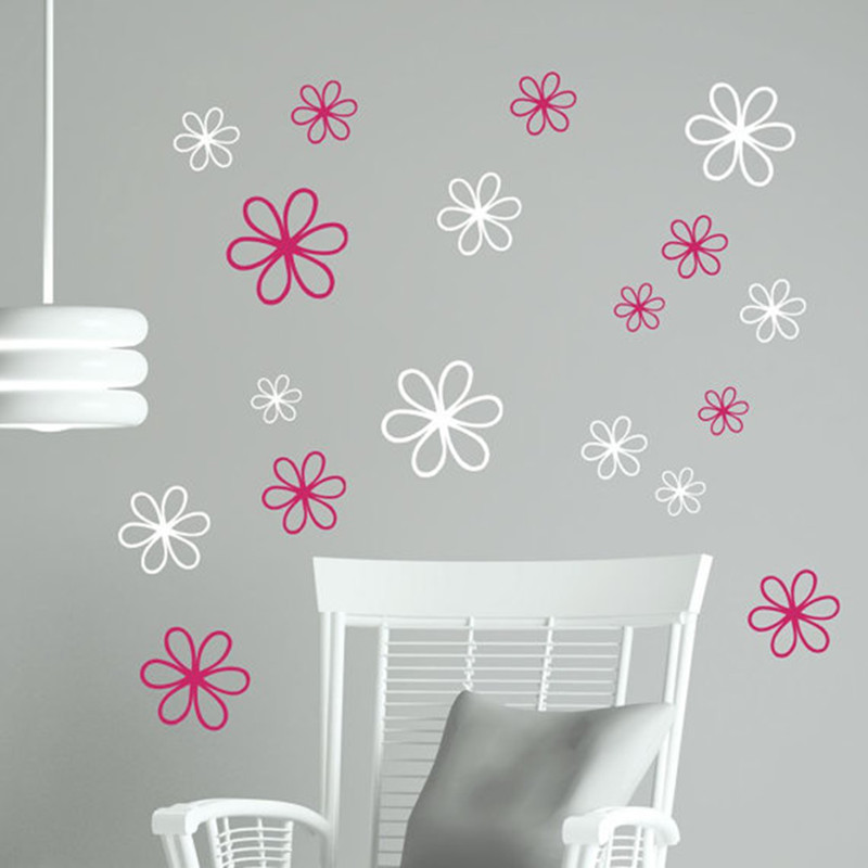 US $3.67 25% OFF|Wall Decals Daisy Flower Stickers Wall Stickers Vinyl  Flower Decals Girls Room Wall Art Decals Baby Bedroom Decor 8PCS T180312-in  ...