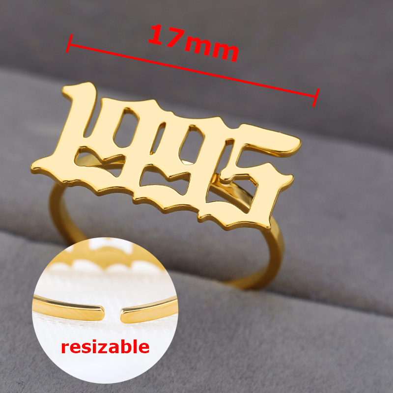 Old English Ring for Women Personalized Year Number 1996 Ring Customized Rings Number Ring Stainless Steel Rings Gold Jewelry