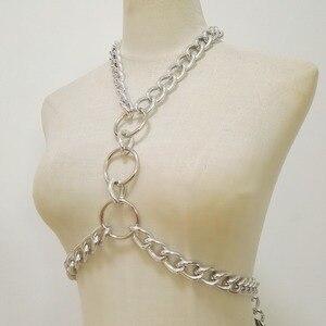 Image 4 - Phụ nữ Punk Chain Harness Handmade Cơ Thể người phụ nữ Sexy Áo Ngực Ngực Áo Ngực Chuỗi vòng cổ vòng cổ O ring miếng chéo halt
