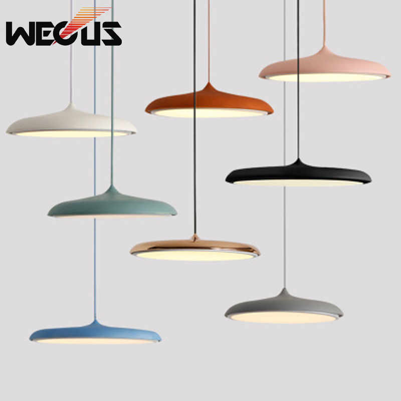 Decorative art UFO creative pendant lights macaron nordic concise acrylic lamps for restaurant cafe hatel bedroom kitchen hall