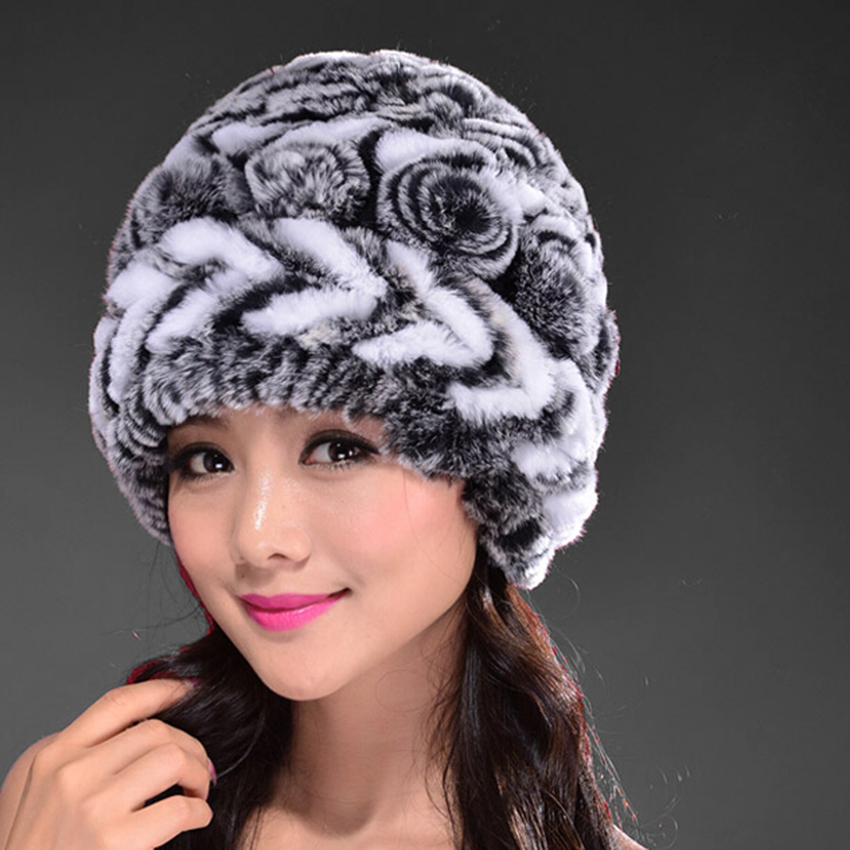 Womens Real Rex Rabbit Fur Hats With Stripe Design Cute Ladies Winter Warm Fur Flowers Caps Knitted Ski Beanie With Soft Lining