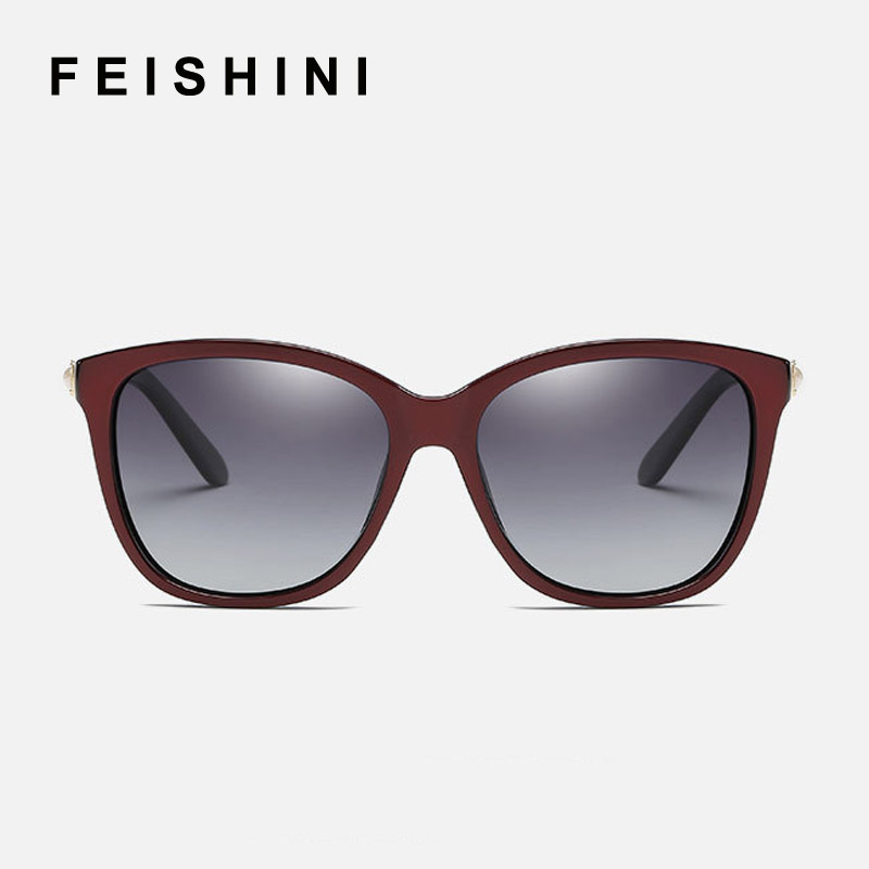 FEISHINI Brand UV Noble Delikat Crystal Gradient Linser EyeGlasses Designer Driving Square Solglasögon Women Polarized Vintage