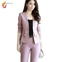JQNZHNL 2017 New Autumn Suit Sets Women Temperament OL Sexy Slim Short Jackets And Long Pants