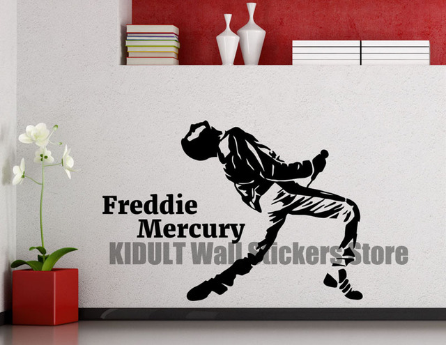 Freddie mercury wall decal queen metal rock music band vinyl wall sticker room teen poster decorative