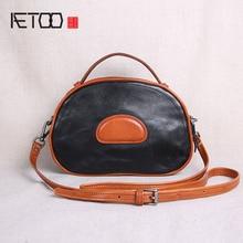 AETOO Handmade leather mini handbag small bag hand bag shoulder Messenger bag retro leather small bag new style цена 2017