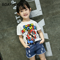 Cartoon Super Mario Print Round Collar Casual Girl Short Sleeve T-Shirts2017Summer Style Children'S Wear New Girls White T-Shirt