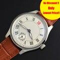 44 мм повседневные мужские часы с ручной обмоткой Топ бренд Parnis белый циферблат римские цифры 30 м азиатское 6498 механическое движение часы