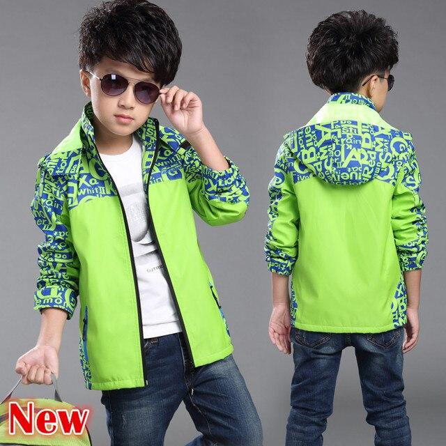 Новая Осенняя непромокаемая куртка для мальчиков, детская ветровка, верхняя одежда с капюшоном, однотонное весеннее пальто с буквенным принтом