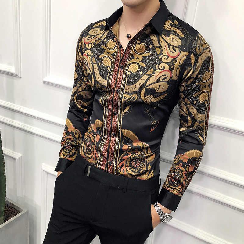 Роскошная Черная Золотая рубашка мужская 2019 НОВАЯ тонкая с длинным рукавом Нижняя юбка модная мужская Праздничная рубашка для клуба вечернее платье рубашка