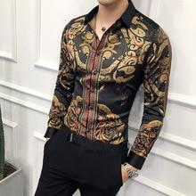 Luxury black gold shirt male 2019 new slim long sleeve petticoat fashion men's s