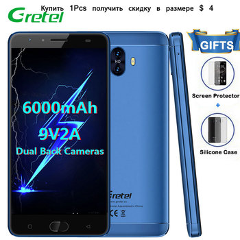 Gretel GT6000 Smartphone 2GB RAM+16GB ROM 5.5 Inches Mobile Phone Android 7.0 Quad Core 13MP OTG 6000mAh 4G Mobile Cell Phones  smartphone