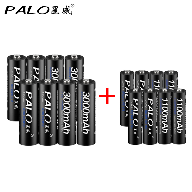 PALO 8pcs AA Rechargeable Battery 3000mAh 1.2V AA+Ni-MH AAA Battery 1100mAh rechargeable batteries mix colors for toys power