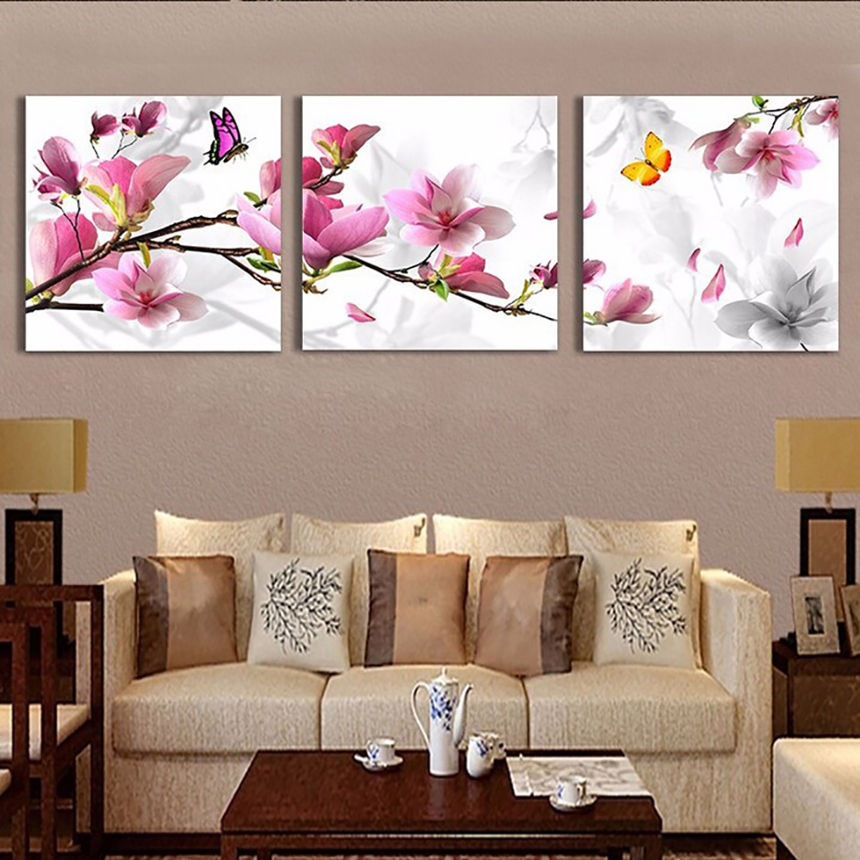 Print Painting Modular Pictures Modern Home 3 Panel Pink Tulip Flower Framework Wall Artwork Poster Decor Living Room Canvas HD in Painting Calligraphy from Home Garden