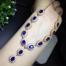 Collier Collares Qi Xuan Dark Blue Stone Fashion Pendant font b Necklace b font Real font