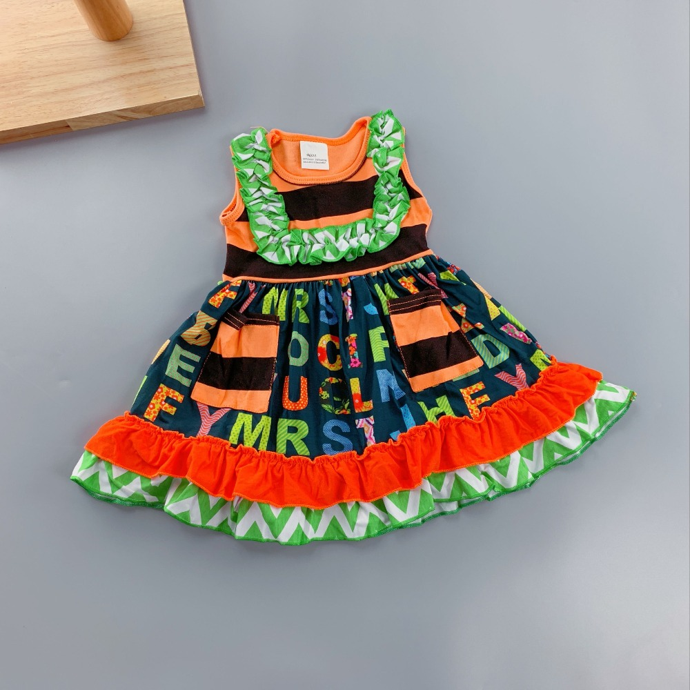 2018 Spring and Autumn Child Ladies Outfits Infants and Kids Vogue Units Ladies Novel Clothes Attire Stripe Ruffle Accent women vogue outfits, women outfits, child lady outfit,Low cost women...