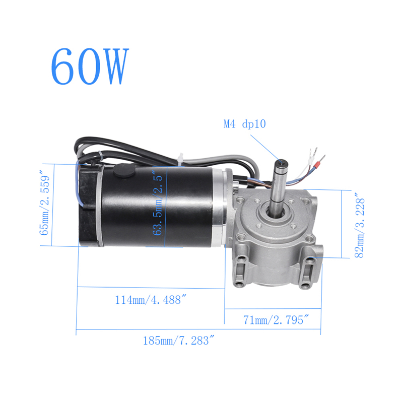 DC Worm Gear Motor 24V 60W 250RPM 100W 220RPM With Gearbox And Intelligent Encoder Electric Door Motor For Hotel Automatic Door in DC Motor from Home Improvement