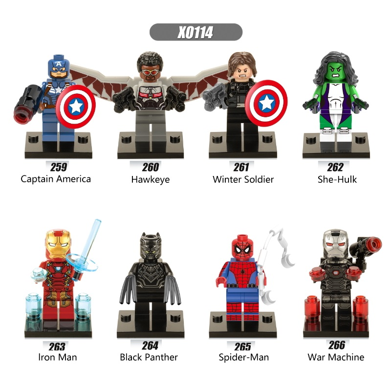 Single Sale Super Heroes Captain America Winter Soldier Iron Man She Hulk Falcon Bricks Building Blocks Children Gift Toys X0114