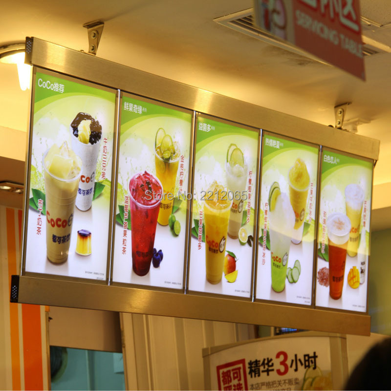 restaurant menu light display