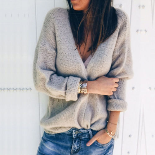 Ladies Casual Solid Jumper Cardigan Outwear Women Autumn Long Sleeve Oversized Loose Knitted Sweater