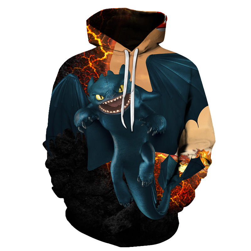 Shirt Train Hoodie Pullover Dragon Printed Womens How Your Loose To New-Arrival