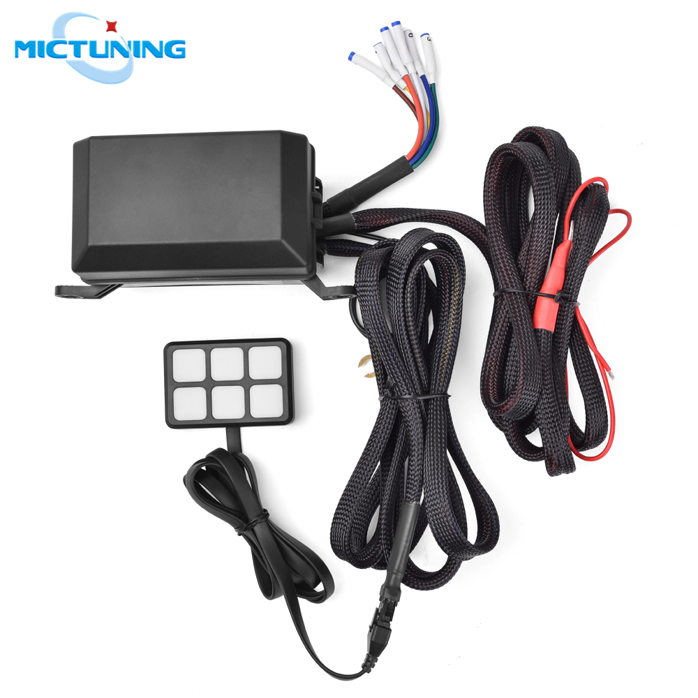 MICTUNING 6 Gang Switch Panel Fuse Relay Box Wiring Harness Auto Electronic Relay System Circuit Control Boxs for Jeep Wrangler