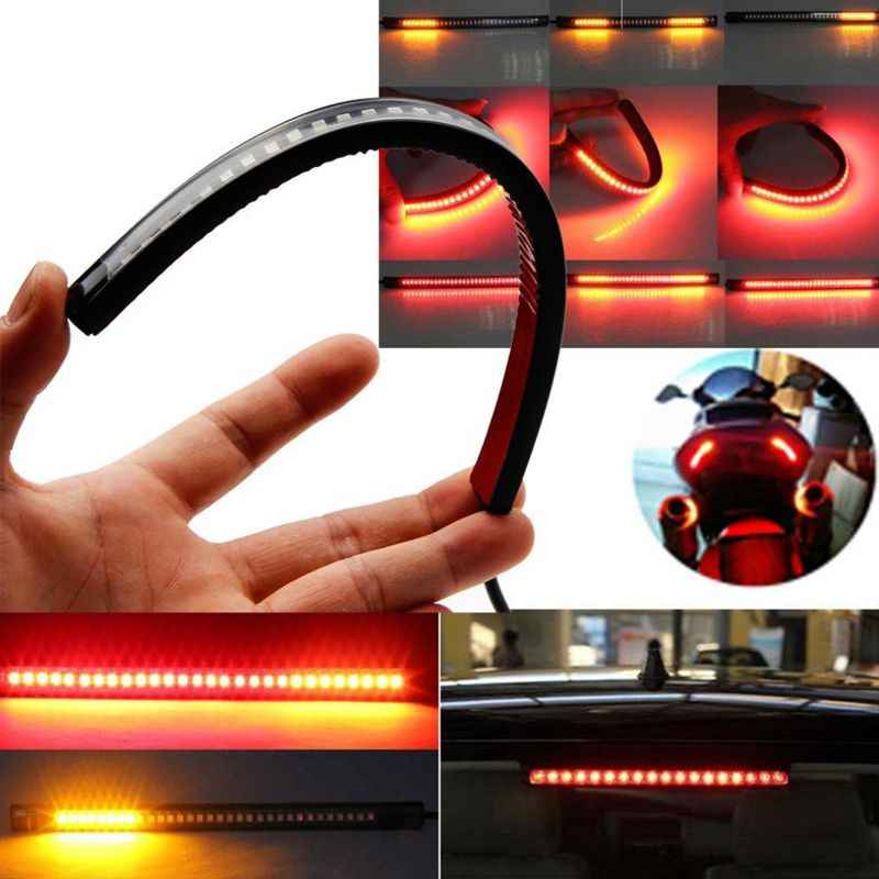LED Motorcycle Light Flexible 32 LED Motorcycle Taillights Led Turn Signal Strip ATV Tail Stop Brake Light Car-styling
