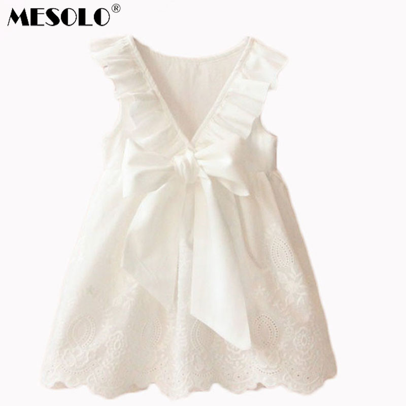 MESOLO 2017 Summer New Princess Girl Dress kids Big Bow Girl Dress Children Clothing dress Girls Vestido Infantis женское платье 2015 desigual vestido summer dress