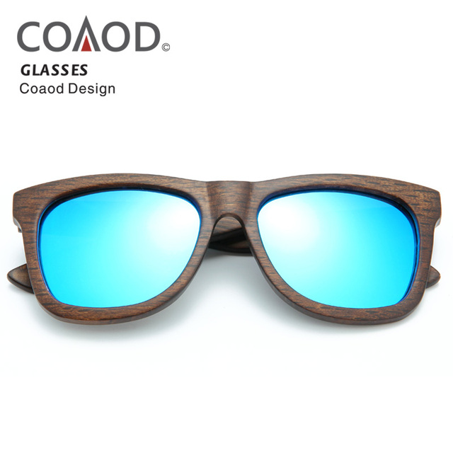 dd292d70574 Blue COAOD Wood Glasses Frame Bamboo Sunglasses Wood Men Beach Women Frame  Retro Fashion Wood Sunglasses Polarized Lens