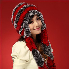 Winter hats for women new rex rabbit fur line Han edition tide female earmuffs caps round