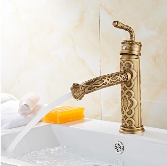 New Arrivals European antique carved faucet brass bathroom faucet hot and cold basin faucet Single Handle Sink Faucet water tap single handle bathroom faucet basin carving tap swivel sink water tap antique brass hot and cold kitchen mixer faucet with hose