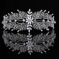 Gorgeous Crystal Zircon Wedding Crown for Queen Tiaras Flower Headband Diadem Head Ornaments