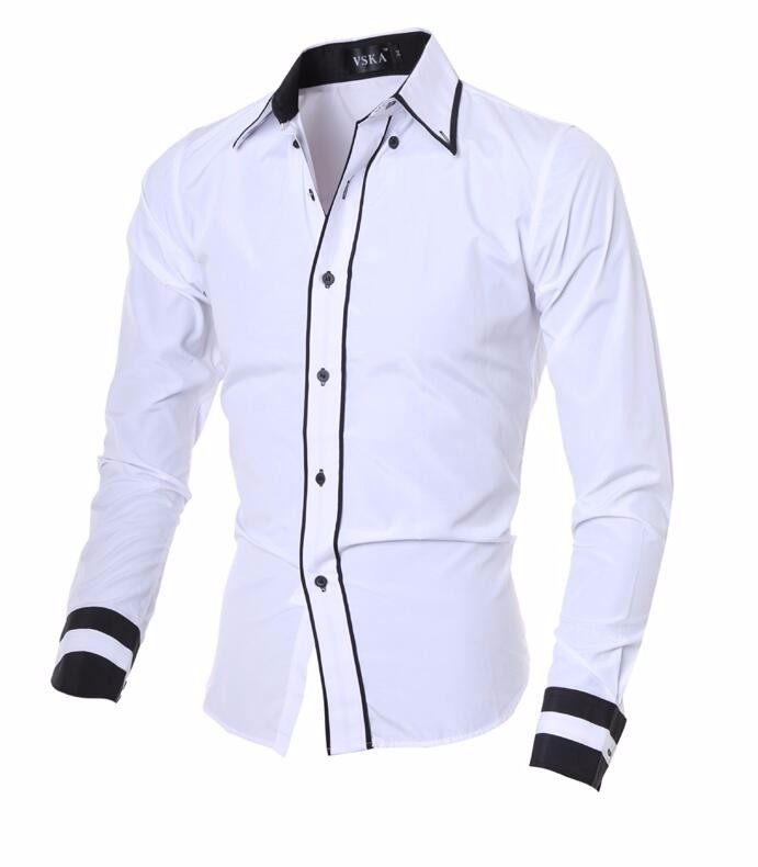 Men Shirt 17 Fashion Brand Men'S Cuff Striped Long-Sleeved Shirt Male Camisa Masculina Casual Slim Chemise Homme XXL SHDWQ 8