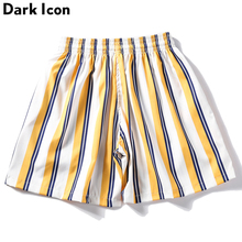Dark Icon Elastic Waist Striped Shorts Men Summer Beach Straight Casual for