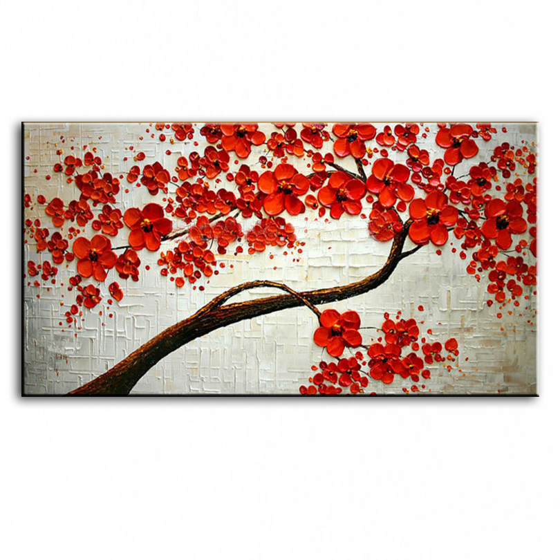 handmade Modern Canvas on Oil Painting Palette knife Tree 3D Flowers Paintings Home living room Decor Wall Art  168028