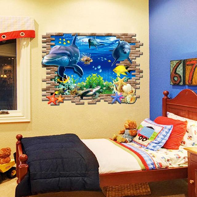 3D three dimensional wall stickers stickers cartoon map animal ...
