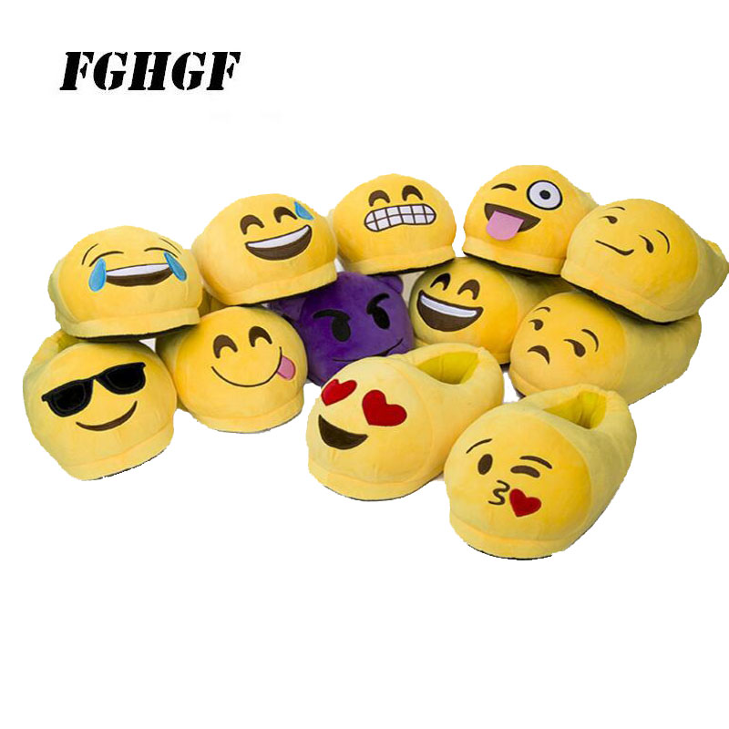 Slippers qq expression cartoon plush slippers Smiley face shit demon whole heel household slippers Warm cotton Parent-child drag