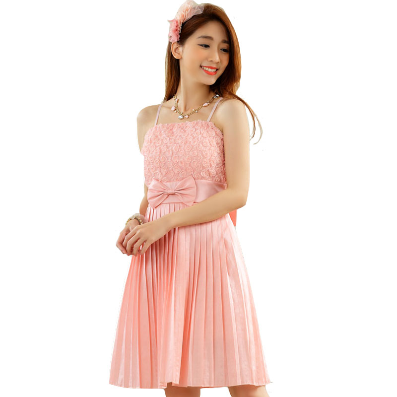 2016 <font><b>Sweet</b></font> girlfriends will <font><b>be</b></font> private gauze pressure pleated strapless dress sister dress