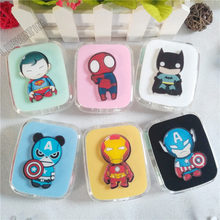 LIUSVENTINA DIY acrylic cute cartoon Spider-Man Batman Iron Man Captain American contact lens case for lenses box for glasses(China)