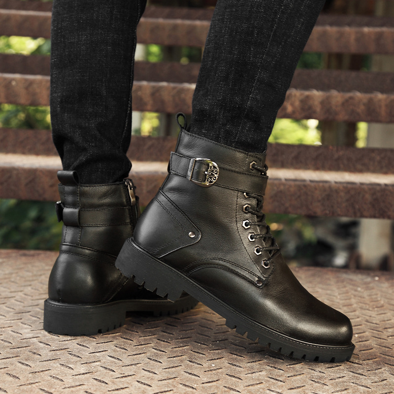 Winter men Boots Winter men Shoes Plus Size 35 - 46 High - top martin boots fall new top leather boots high boots plus size printed empire waist peplum top