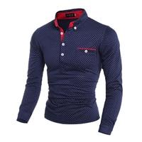 Новая высококачественная модная брендовая мужская рубашка поло, однотонная приталенная рубашка с длинным рукавом и волнистым узором, мужс...