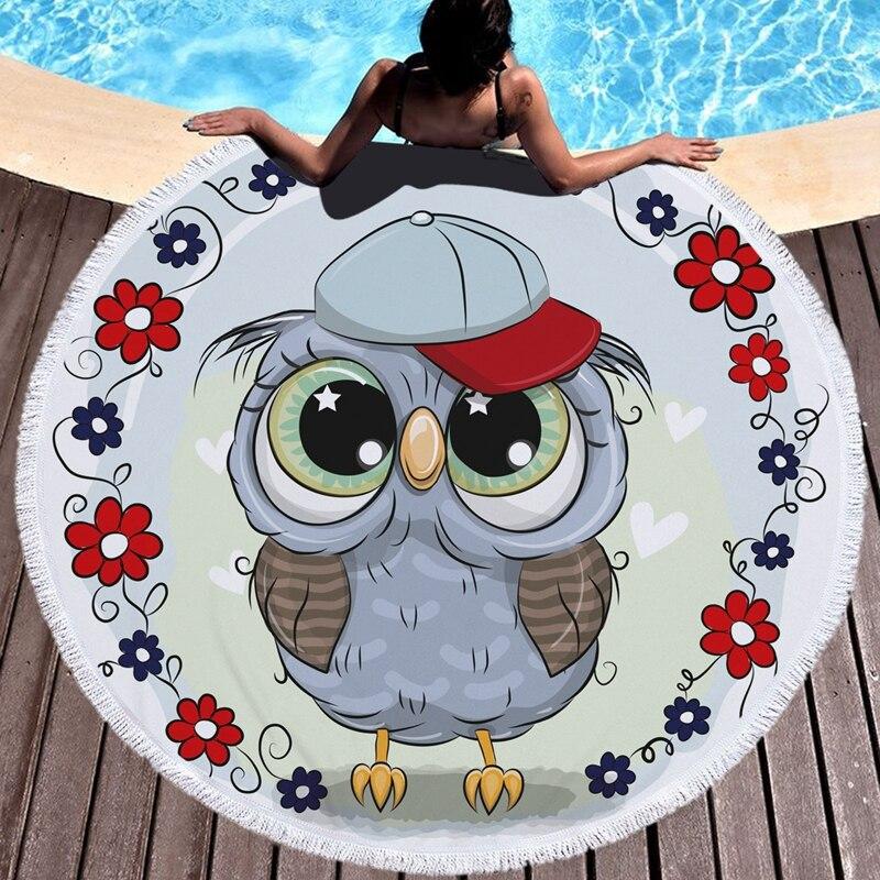 ★  8 вариантов Толстое круглое одеяло для пляжного полотенца Симпатичная сова с принтом Большая микрофи ①