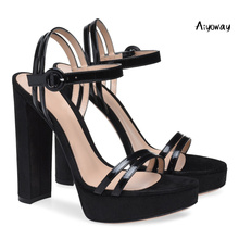 2019 Aiyoway Spring Summer Women Shoes High Heels Platform Sandals Ankle Buckle Strap Ladies Party Dress Shoes Black asumer black apricot rose red fashion summer ladies shoes buckle thick platform prom shoes women high heels sandals