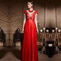 Coniefox 30615 Кружева Спинки Cap Рукавом V-образным Вырезом Красный Длинное Вечернее Платье для Свадьбы