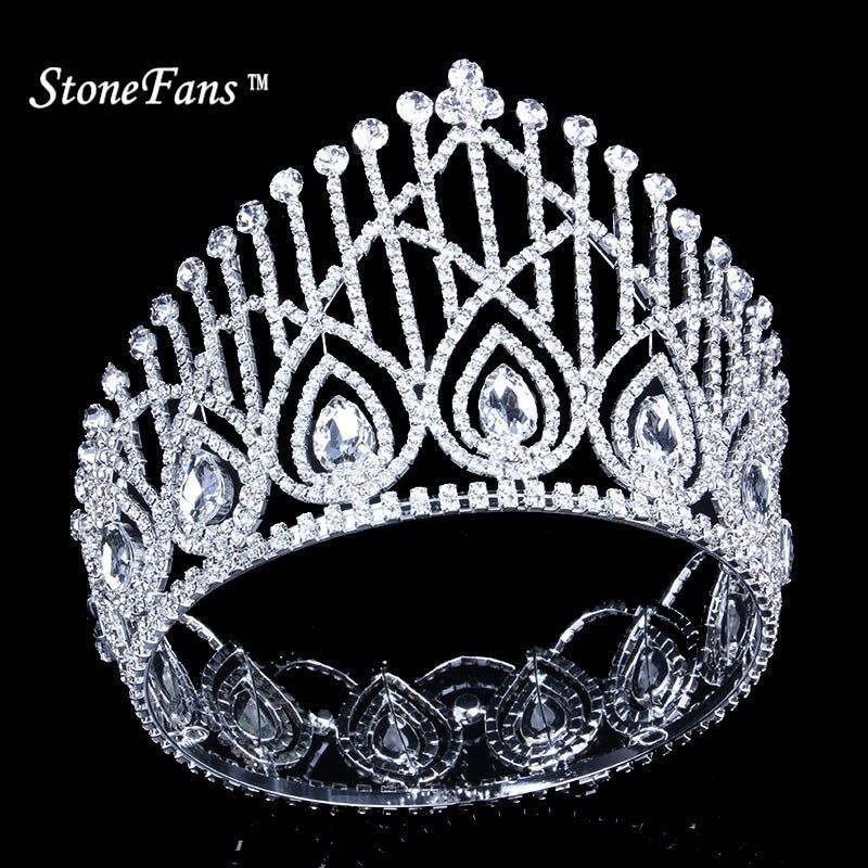 StoneFans 2018 couronnes rondes Vintage strass cristal argent roi reine Miss usa mariée couronne avec cristallales femmes