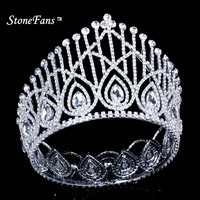 StoneFans Round Crowns Vintage Rhinestone Crystal King Queen Miss usa Bride Crown with Crystales Women