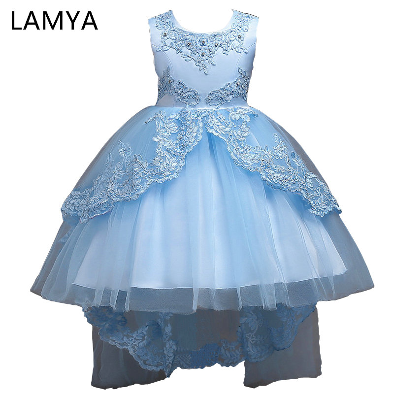 LAMYA High Low   Flower     Girl     Dresses   for Wedding Party Sleeveless Lace Appliques with Beading Short Children Princess Formal   Dress