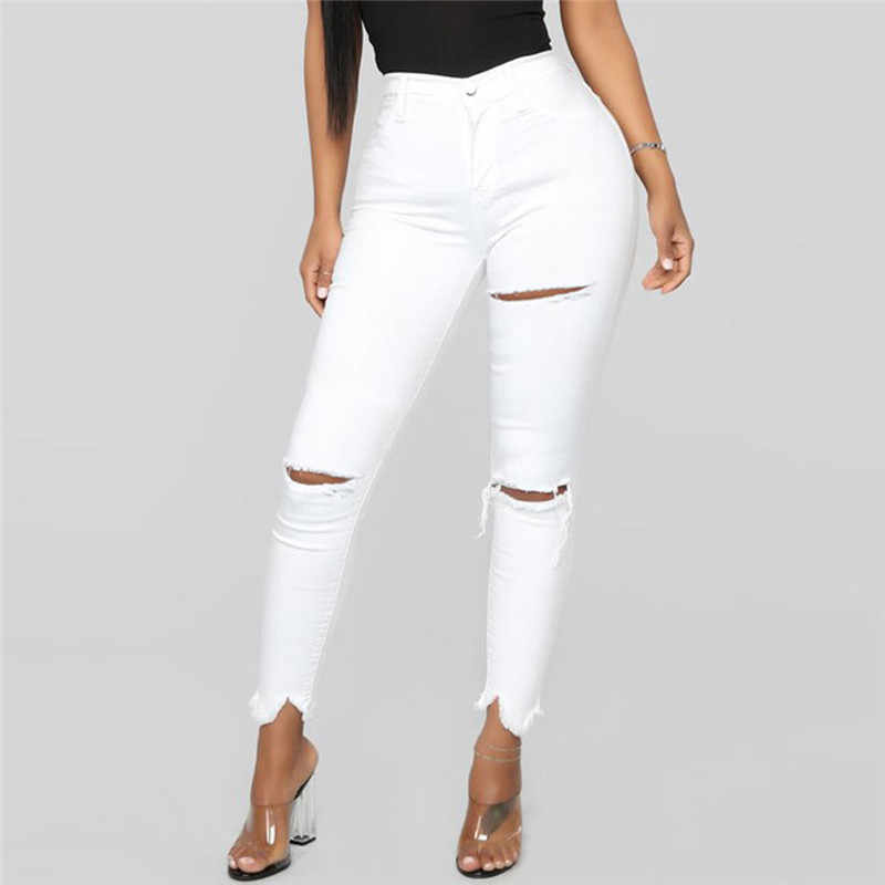 2019 Witte Jeans Stretch Sexy Vrouwen Skinny Jeans Mid Taille Stretch Potlood Broek Gescheurd Gescheurd Jeans Combinaison Pantalon A30 @