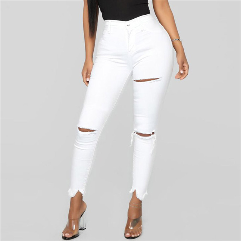 2019 White Jeans Stretch Sexy Women Skinny Jeans Mid Waist Stretch Pencil Pants Ripped Torn Jeans Combinaison Pantalon A30@