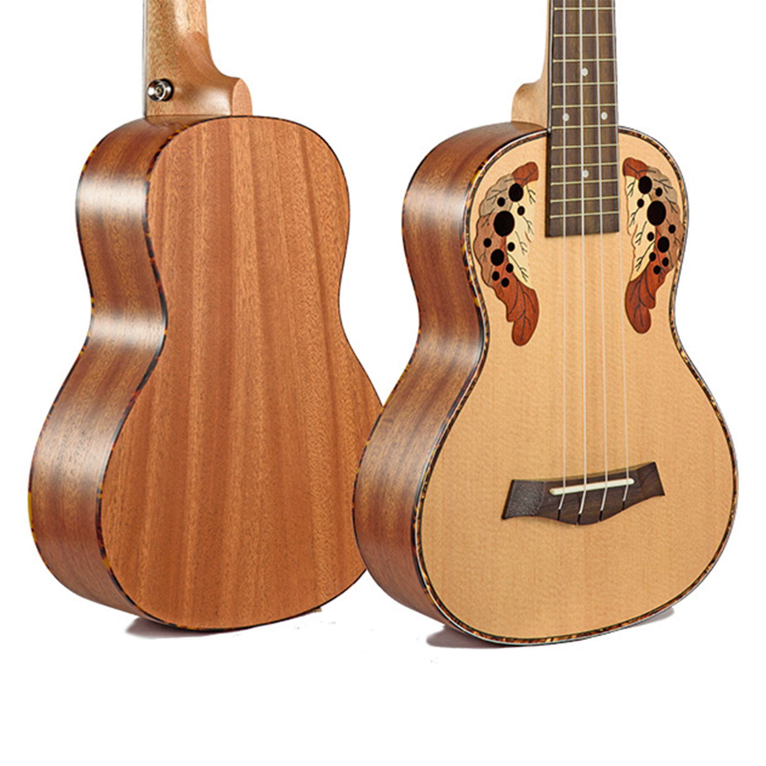 "Dean Guitars Ukulele Travel Uke: 23"" Concert Spruce Ovation Grape Hole 4 Strings Ukulele"